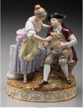 61787: A Meissen Painted Porcelain Bucolic Figural Grou