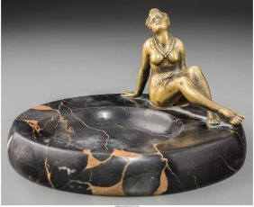 61961: An Austrian Female Bronze Nude and Marble Ashtra