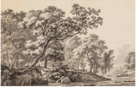 62062: Jean-Louis Demarne (French, 1750-1829) Wooded La