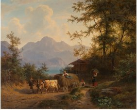 62108: Gustav Meissner (German, 1830-1930) Mountain lan