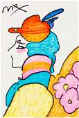 62372: Peter Max (American, b. 1937) Lady with Hat and