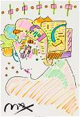 62374: Peter Max (American, b. 1937) Lady Profile (pink