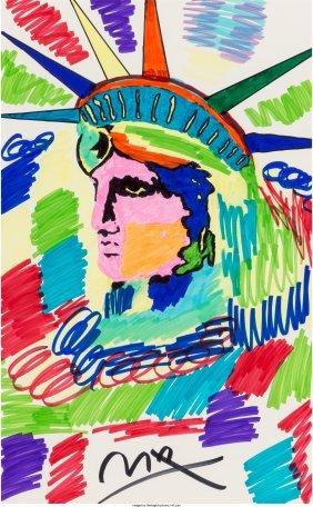 62377: Peter Max (American, b. 1937) Liberty Profile Ma