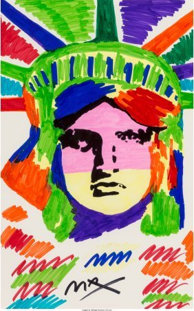 62380: Peter Max (American, b. 1937) Liberty  Marker on