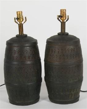 Pair of Green Ceramic Modern Table Lamps