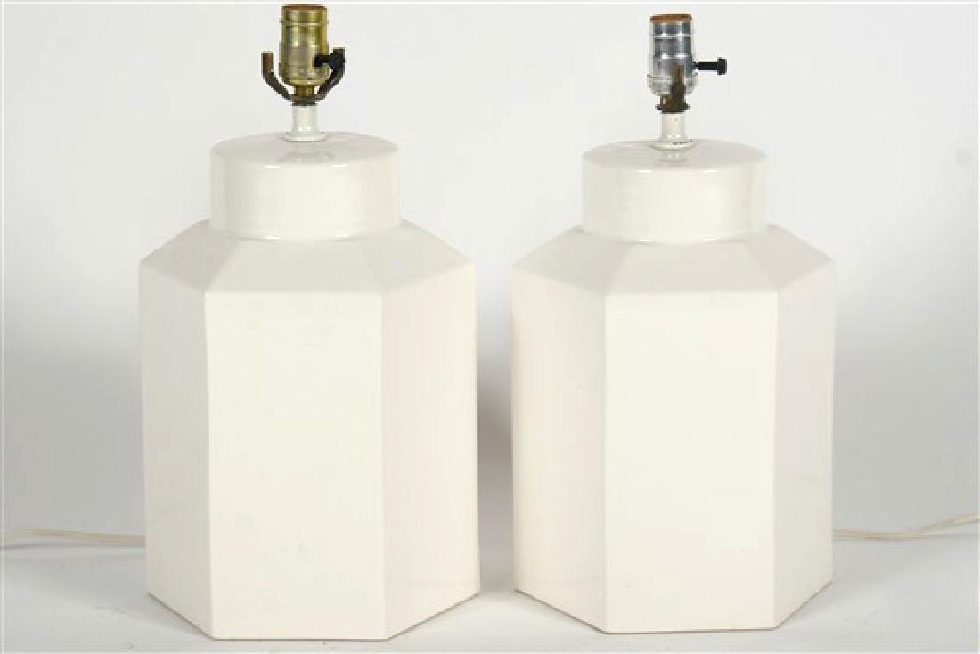 Pair of White Hexagonal Modern Table Lamps