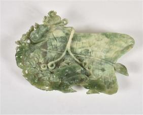 Green Jade Leaf Form Dish