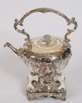 Silver Plated Tilting Teapot Water Warmer on Stand