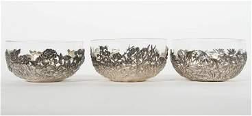 Three Wang Hing & Co. Chinese Export Silver Bowls