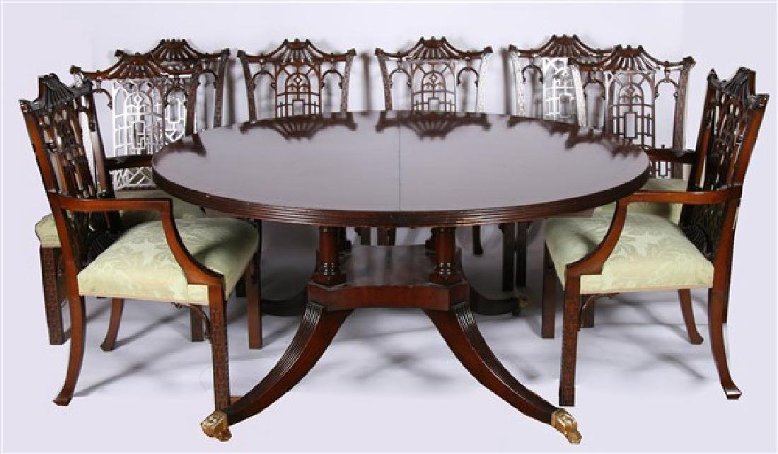 Dining Set with Eight Chippendale-Style Chairs
