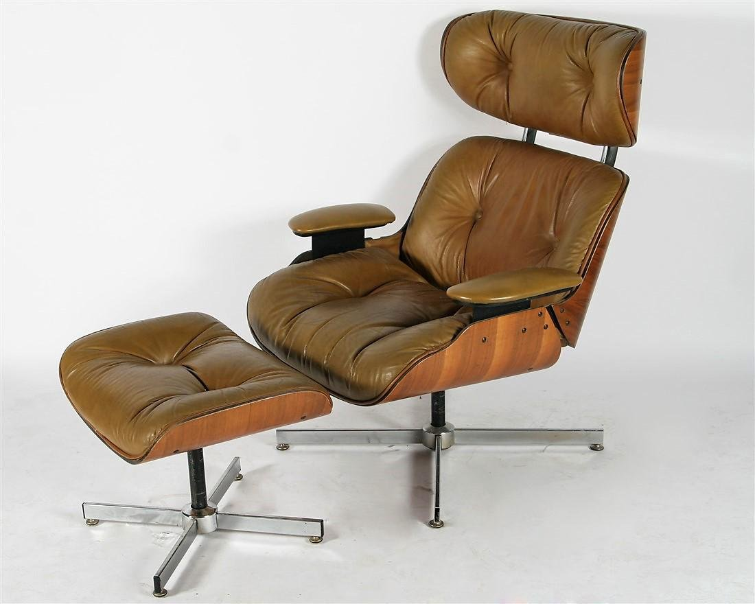 Plycraft Eames-Style Lounge Chair with Foot Stool