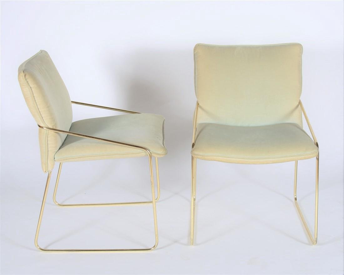 Mid-Century Modern Pair of Brass Frame Chairs