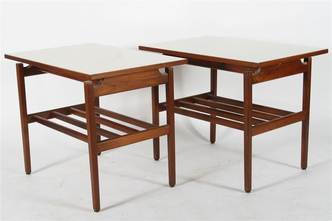 Pair of Rectangular Laminate and Wood Tables