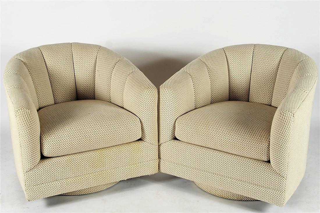 Attrib. to Milo Baughman, Pair of Swivel Chairs