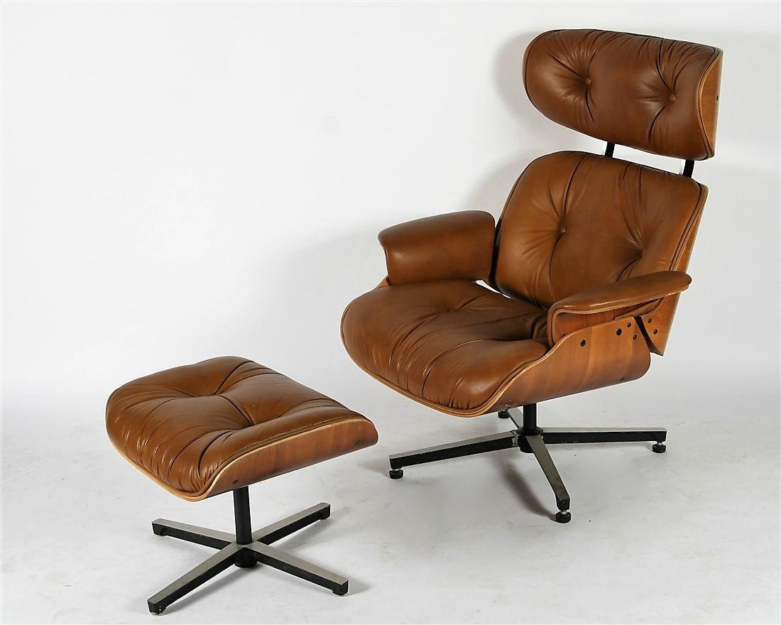 Plycraft, Eames-Style Lounge Chair with Foot Stool