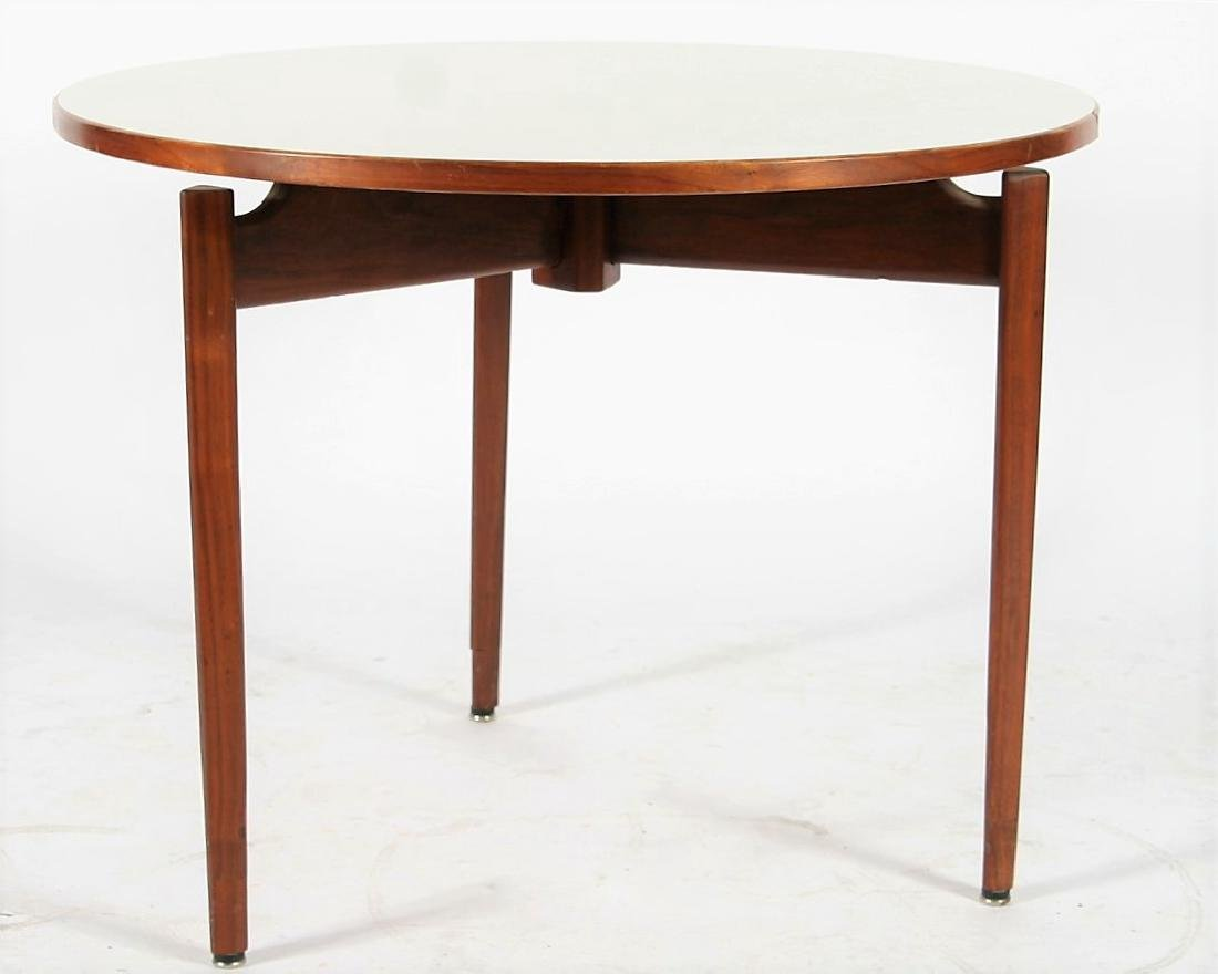 Round Laminate and Teak Side Table