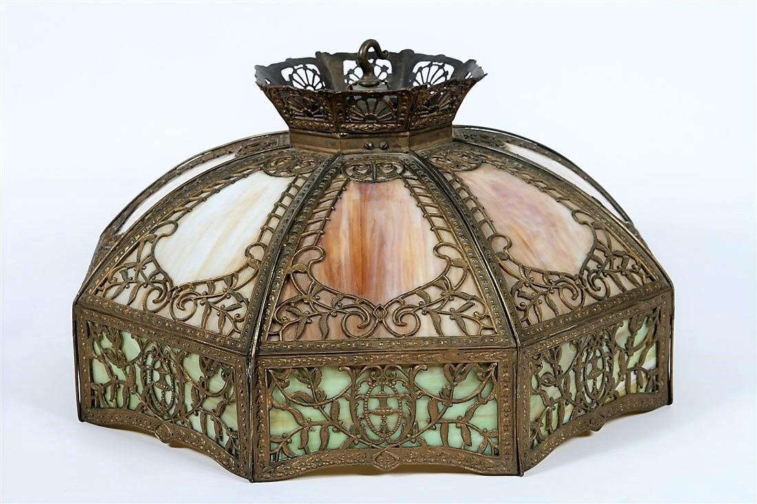 Ornate Slag Glass Hanging Light Fixture