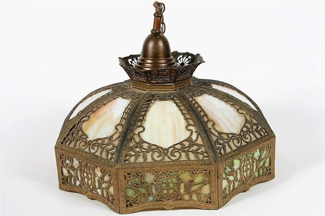 Ornate Slag Glass Hanging Light Fixture