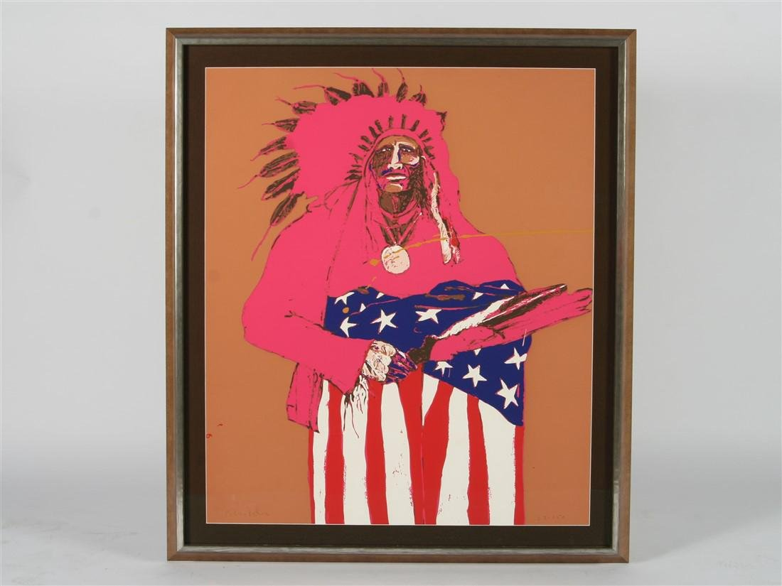 "Fritz Scholder (1937-2005) ""Last Indian with Flag"""