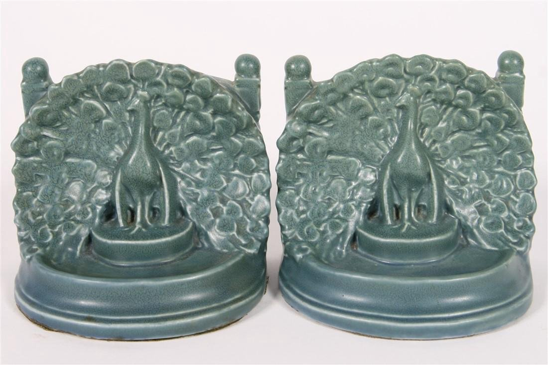 """Rookwood Pottery, """"Peacocks at the Fence"""" Bookends"""