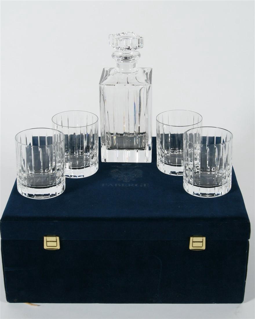 Faberge, Crystal Pavilion Decanter & Glass Set