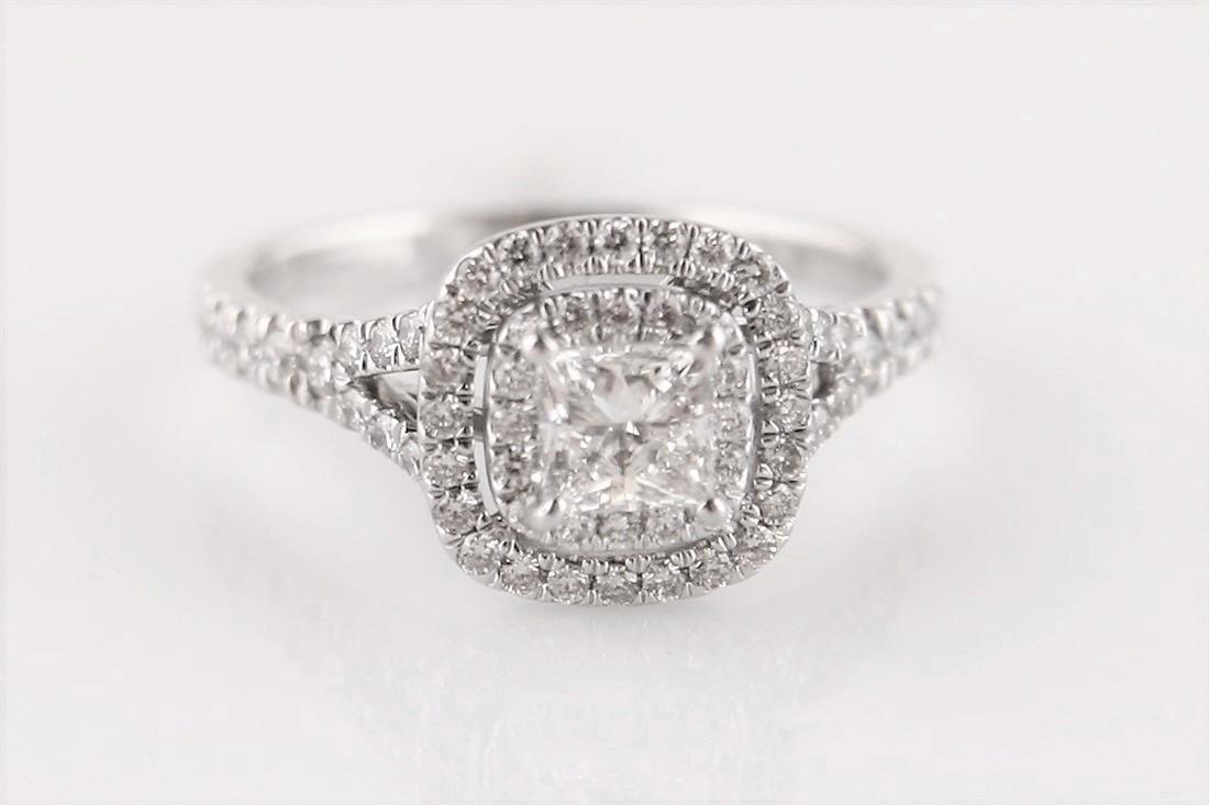14k White Gold .54 ct Diamond Princess Cut Ring