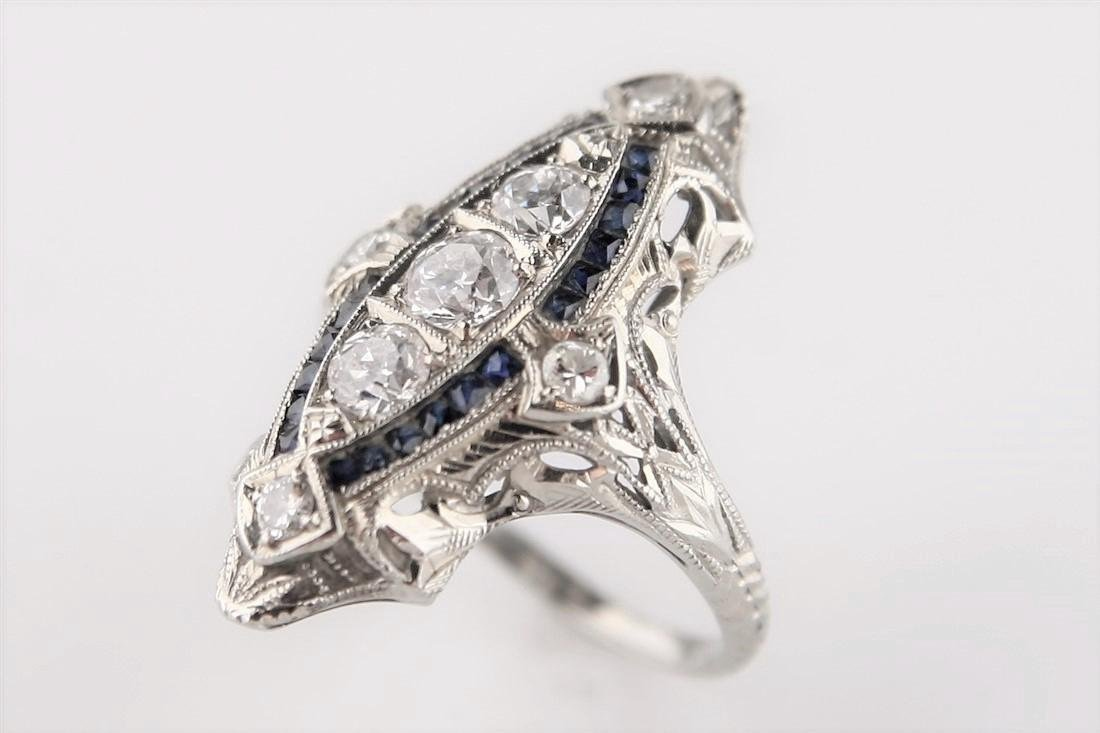 18k White Gold Ring with Diamonds, Syn. Sapphires