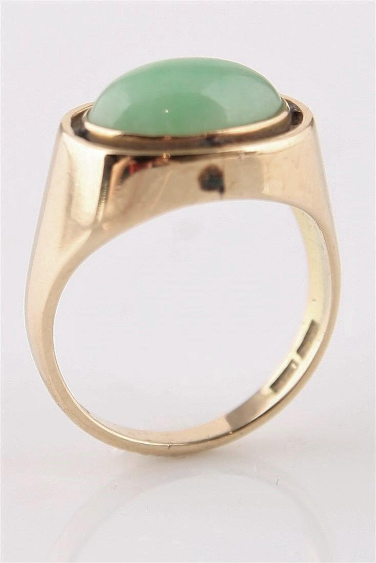 14k Yellow Gold Oval Cabochon Jadeite Ring