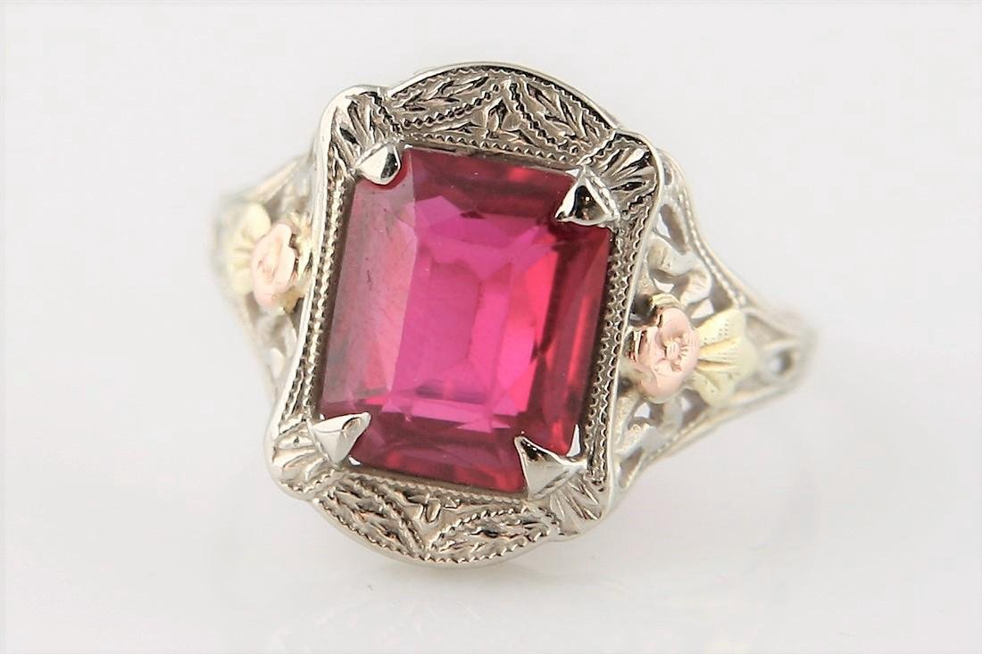 14k Tri-Color Gold Ring with Faux Ruby