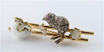 18k Gold, Diamond & Enamel Chick and Egg Brooch