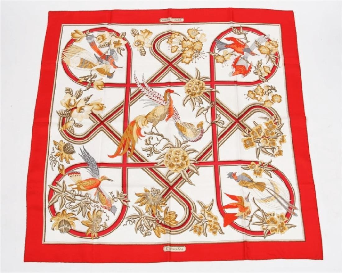 "Hermes, ""Caraibes"" Silk Scarf in Red"
