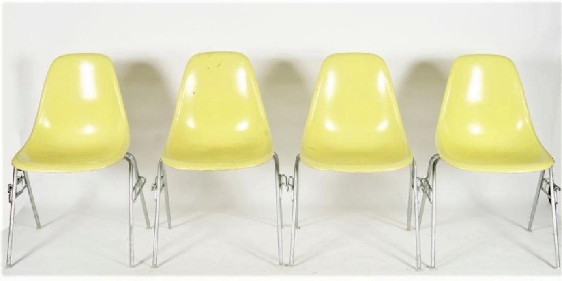 Four Yellow Herman Miller DSS Stacking Chairs