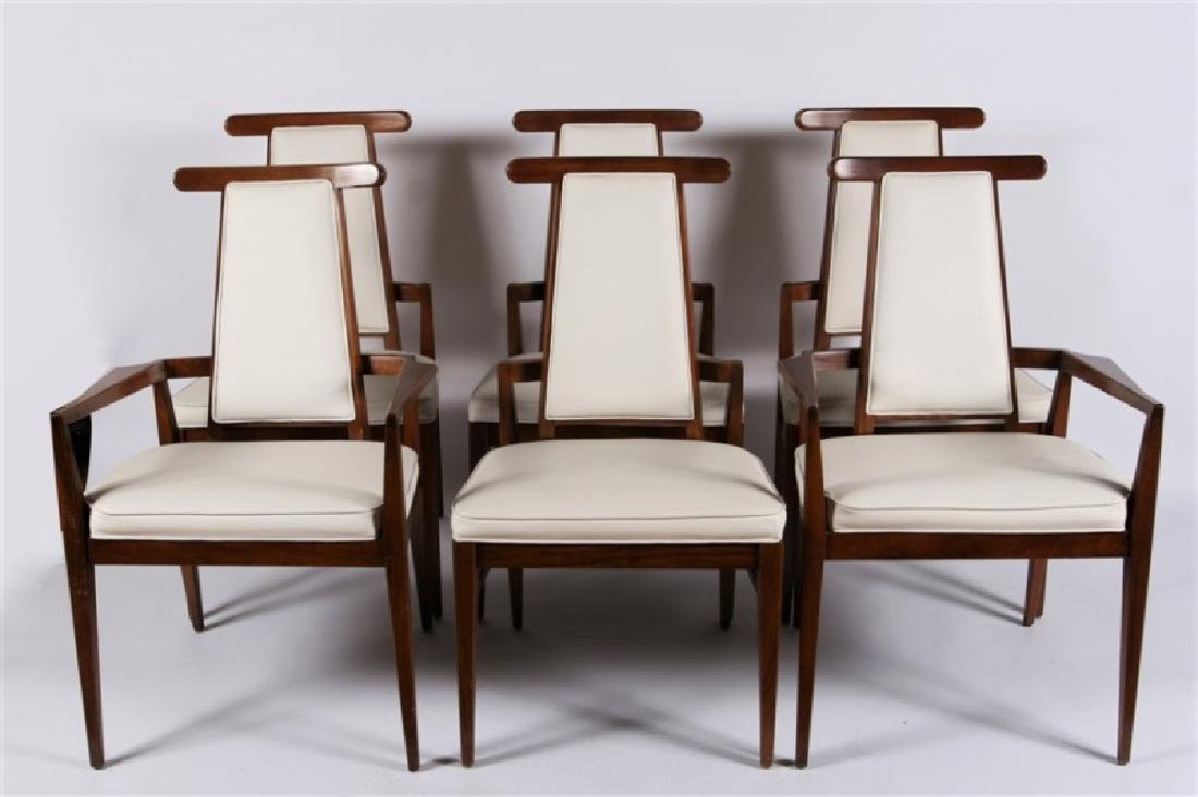 Set of Six Modern Teak and White Leather Chairs