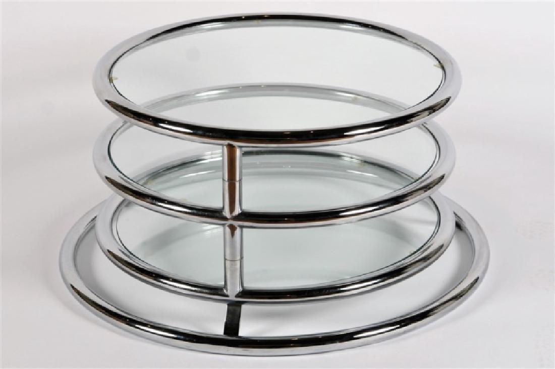 Milo Baughman-style Swivel Chrome Side Table