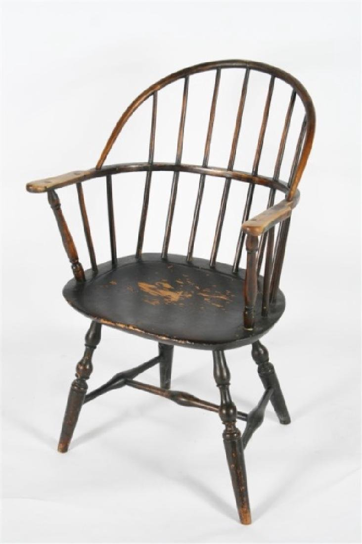 Early 19th C. Sack Back Windsor Arm Chair