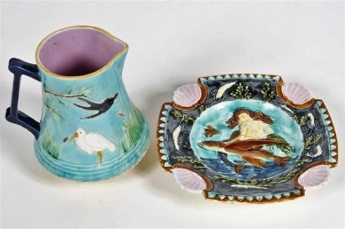 Lot of George Jones Pitcher and Mermaid Wall Plate