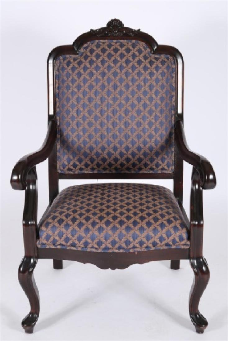 Chippendale-style Blue and Gold Open Arm Chair