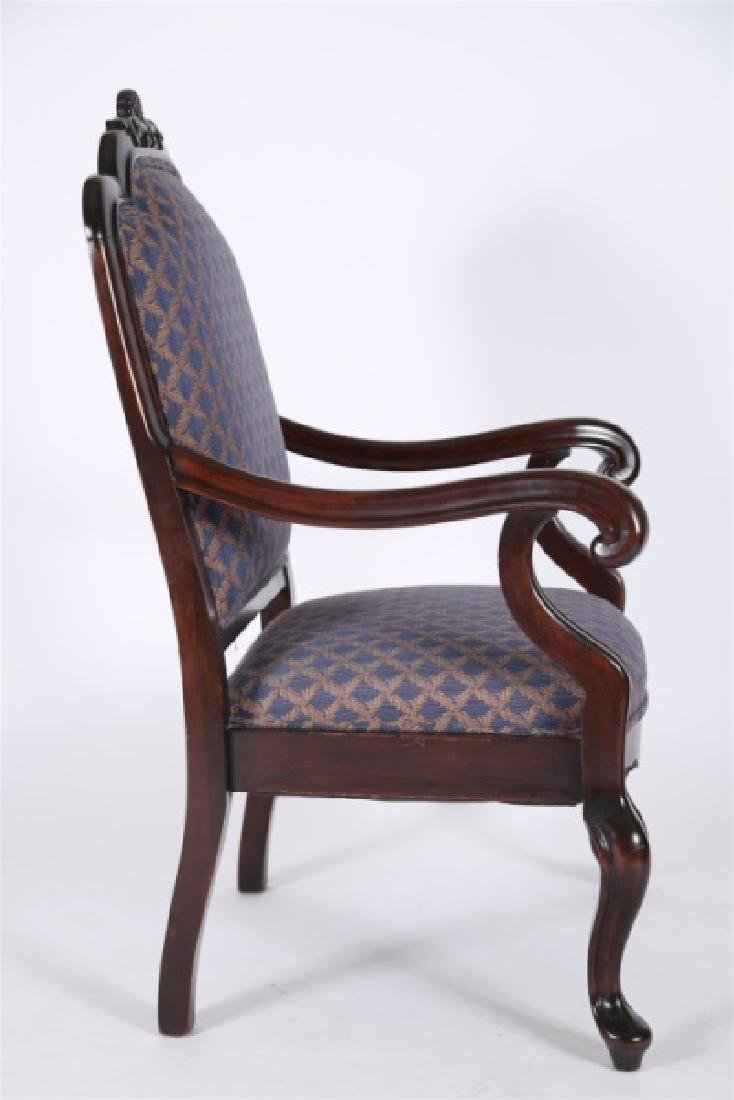 Chippendale-style Blue and Gold Open Arm Chair - 2