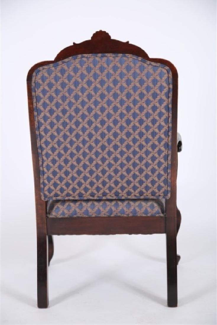 Chippendale-style Blue and Gold Open Arm Chair - 3