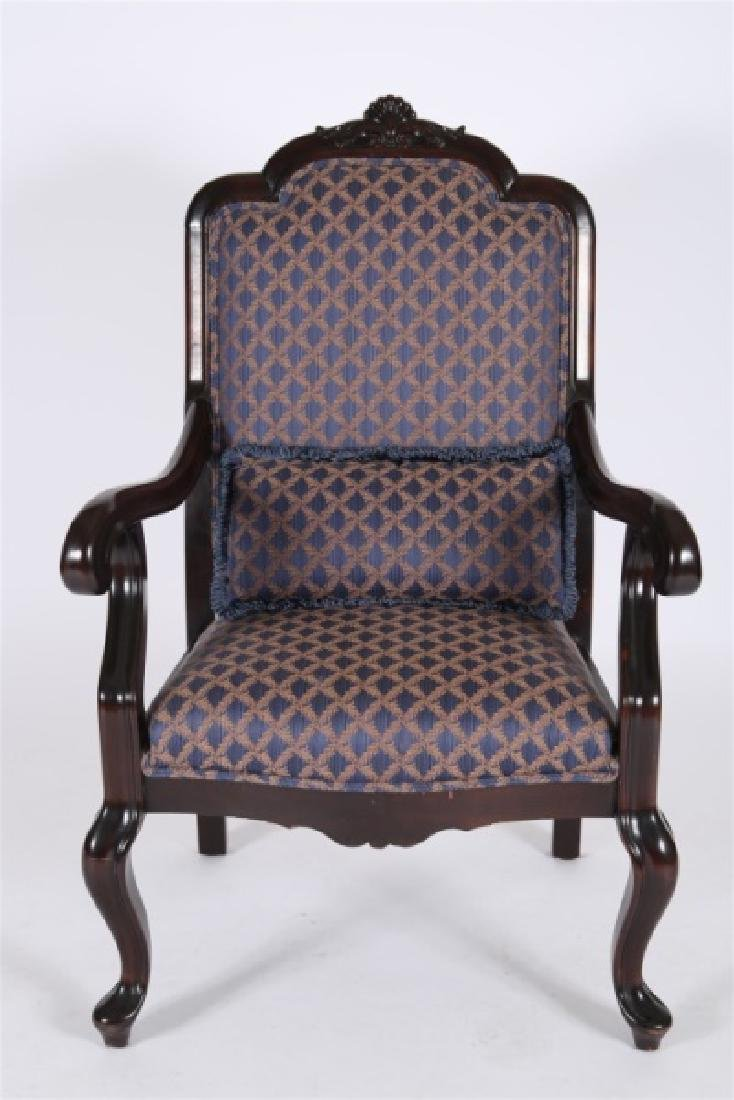 Chippendale-style Blue and Gold Open Arm Chair - 5