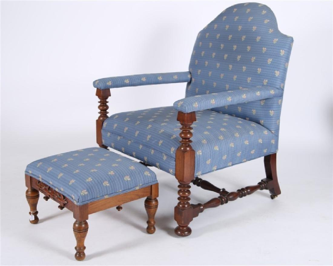 Blue Upholstered Open Arm Chair with Ottoman