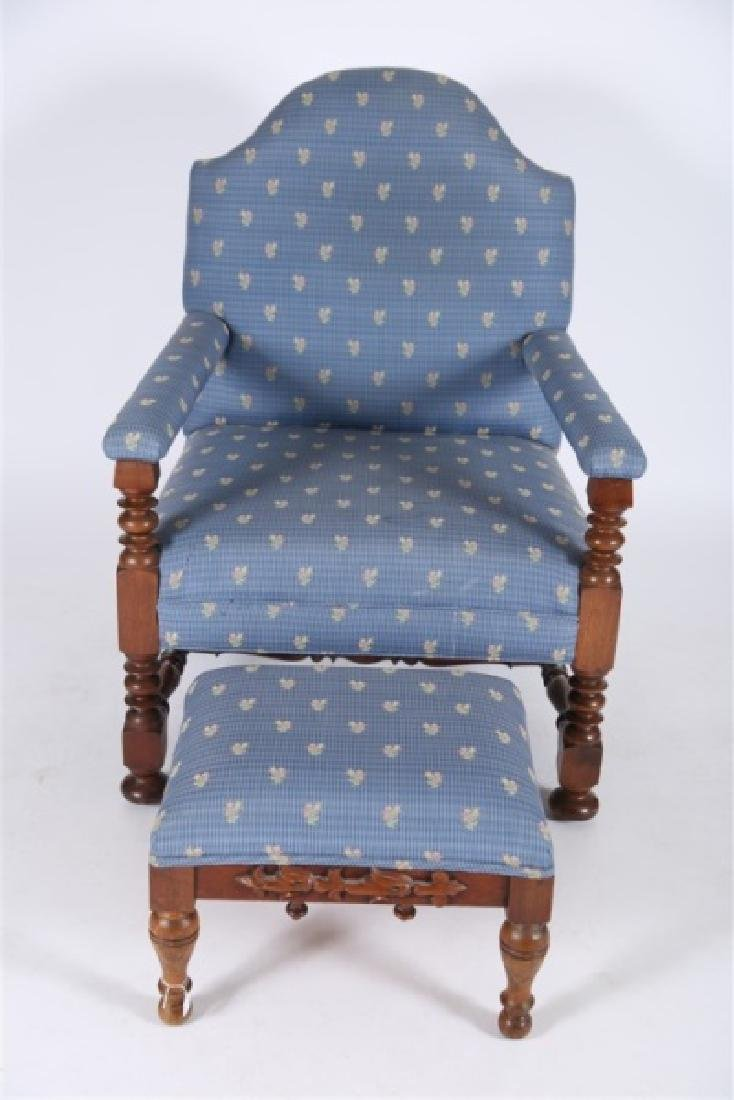 Blue Upholstered Open Arm Chair with Ottoman - 2