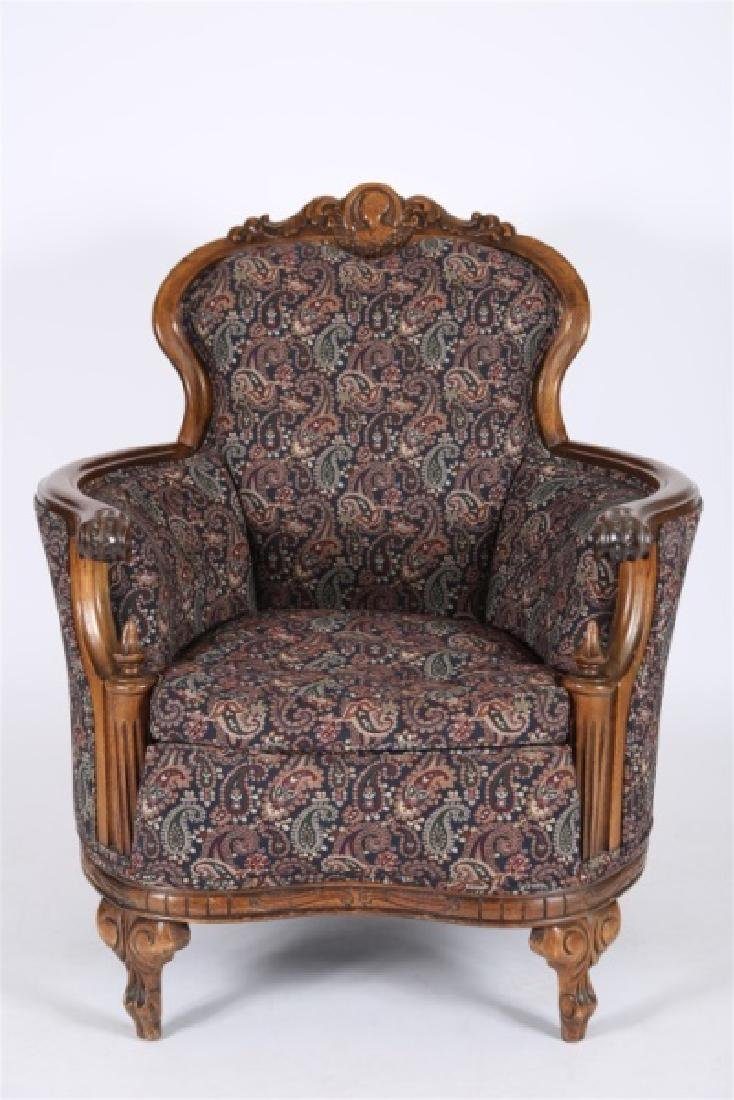 Carved Wood Upholstered Barrel Lounge Chair