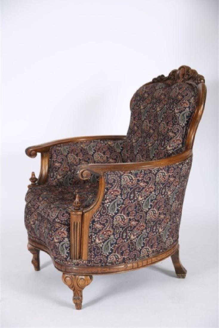 Carved Wood Upholstered Barrel Lounge Chair - 2