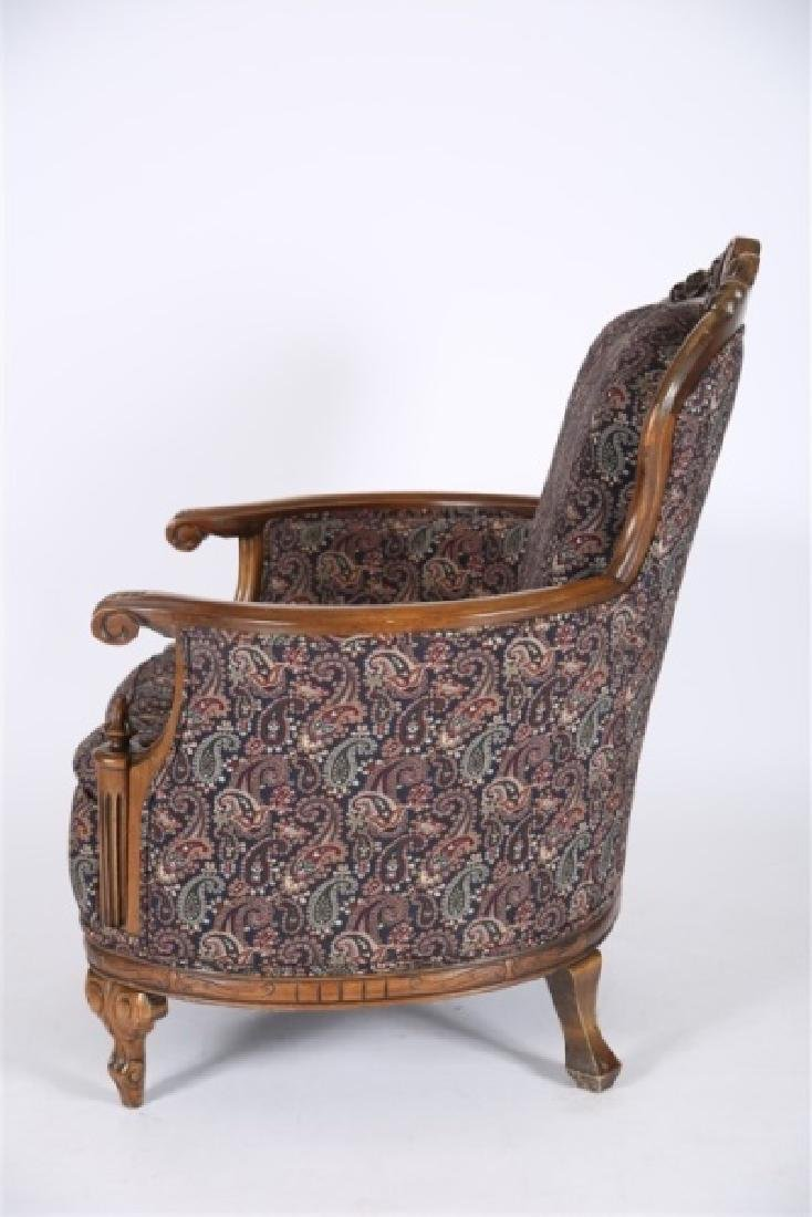Carved Wood Upholstered Barrel Lounge Chair - 3