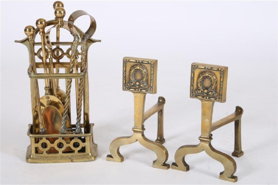Set of English Brass Fireplace Tools & Firedogs