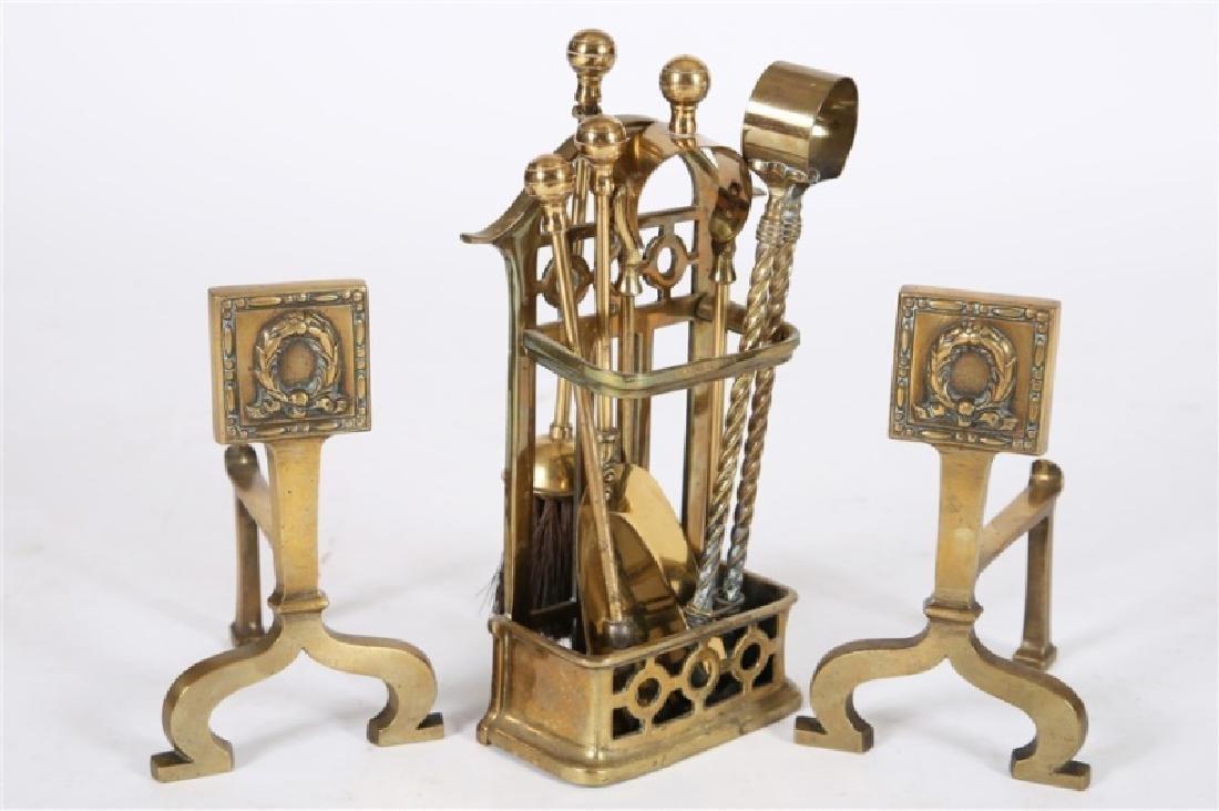 Set of English Brass Fireplace Tools & Firedogs - 2