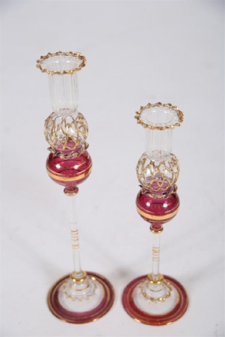 Pair of Glass Candlesticks - 3
