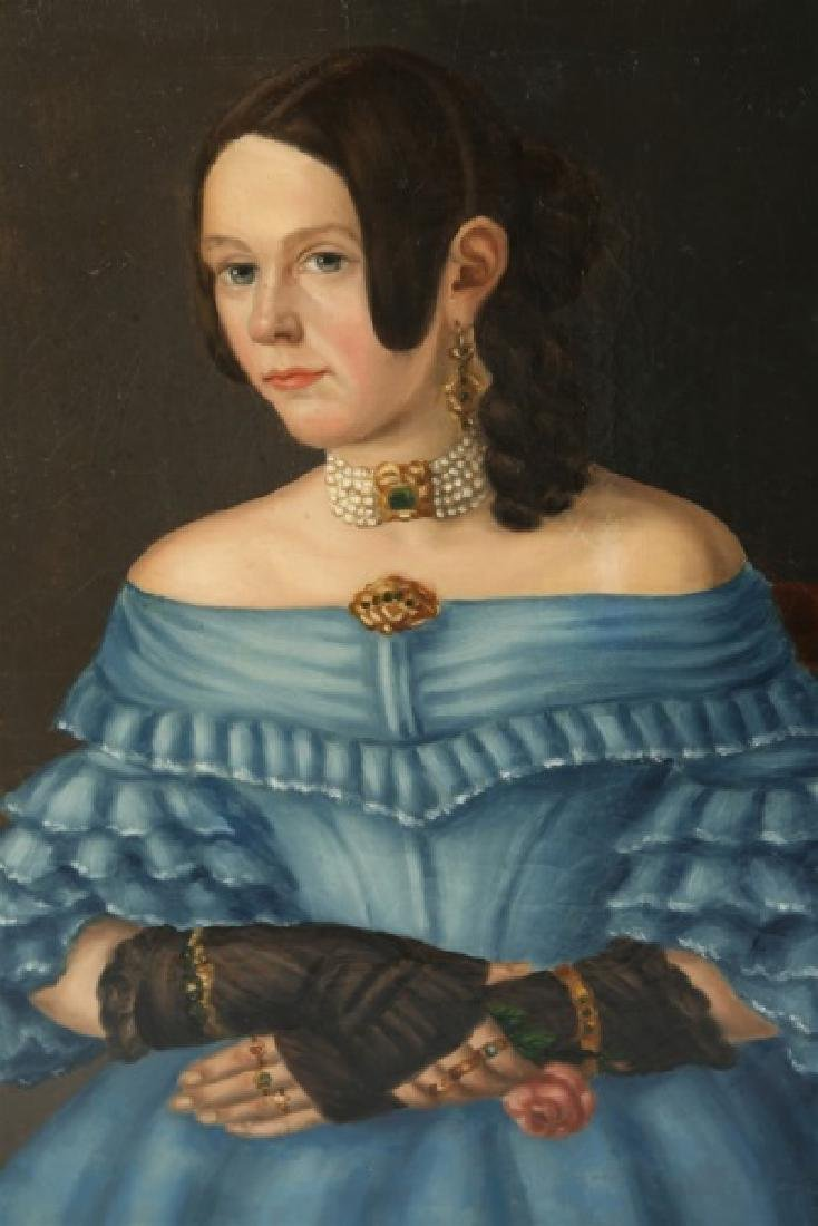 Oil on Canvas Portrait of Woman in Blue - 2