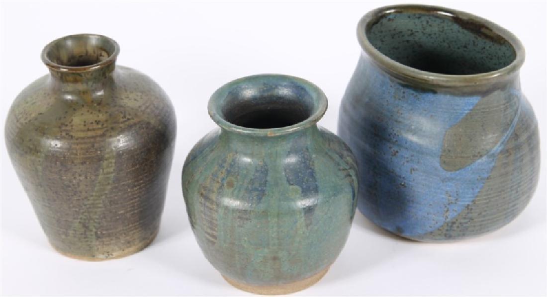Lot of Three Glazed Ceramic Vessels